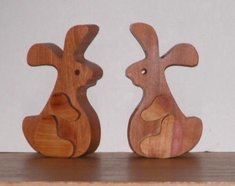 Two Wooden Rabbits -  Home or Office Decor - Easter Bunnies -  Bunnies by the Pair