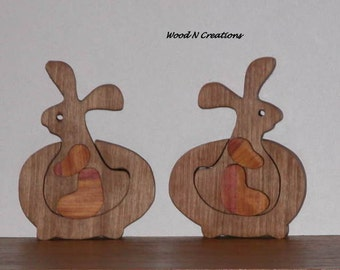 Home Decor -  Bunnies by the Pair Riding in Their Cars - Easter Decoration - Office Decor