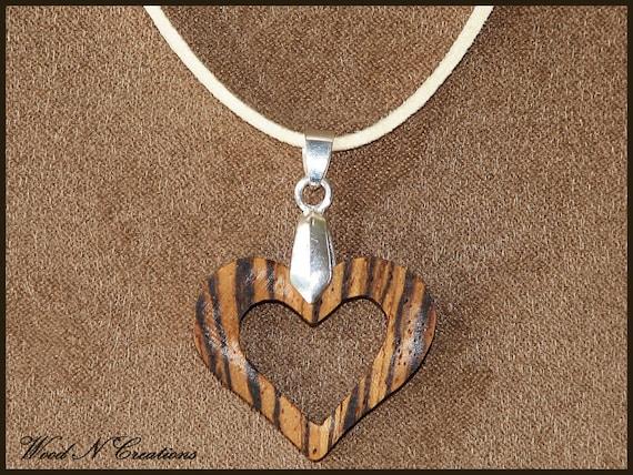 Exotic Zebra Wood Open Heart Pendant Necklace