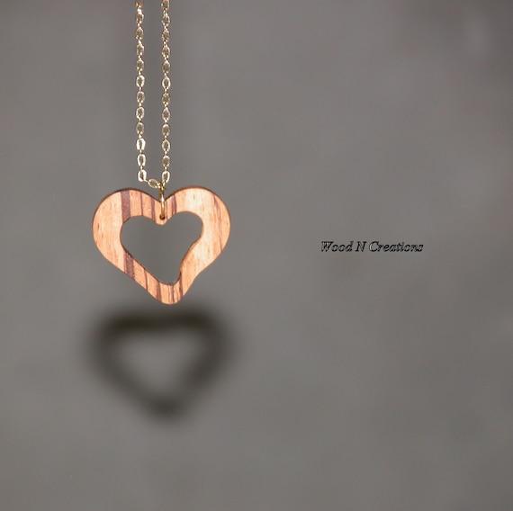 Zebra Wood Heart Shaped Pendant Necklace