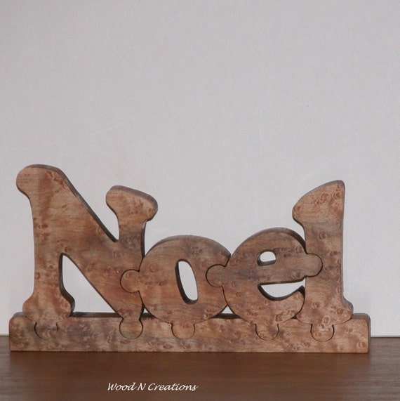Christmas Holiday Home Decor - Noel Word Puzzle Sign made of Beautiful Curly Maple