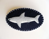 Shark Brooch Felt Pin - Tiny Great White - Nautical Accessories