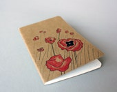 Hand Drawn Pocket Journal Moleskine Cahier Notebook - Field of Poppies