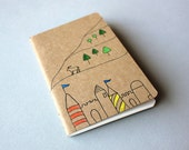 Hand Drawn Pocket Journal Notebook - Billy Goat Castle Fairy Tale - READY TO SHIP