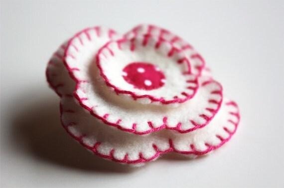 Flower Brooch Felt Pin - Polka Dot - Pink White - I'm a Bit Dotty