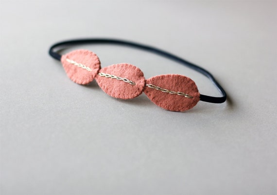 Grecian headband - Modern peach pink leaf hair accessory