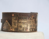 Little Town Bracelet Etched and Oxidized Brass on Leather Made To Order