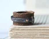 Men's Ring Leather And Antique Barn Nail Band Handmade Steampunk Luxury Stocking Stuffer For Him