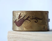 Bird Bracelet Brass Etched And Hand Pierced On Upcycled Leather Cuff