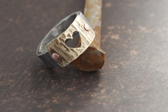 Antique Barn Nail Ring Textured With Heart Cut Out Mothers Day Gift For Her Made To Order