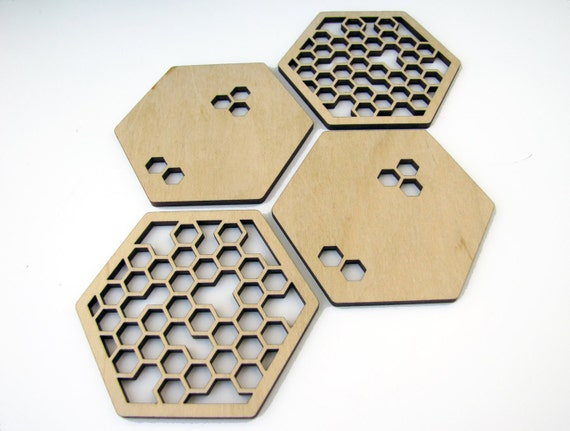 Laser cut wood coasters. Honeycomb and hexagon shape.