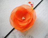 Baby Orange Organza Rose Blossom on a Black Headband
