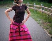 Long fuchsia skirt, summer skirt, pink and brown skirt