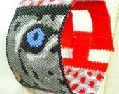 Bead Kit Eye of the Snow Leopard Cub peyote cuff bracelet pattern
