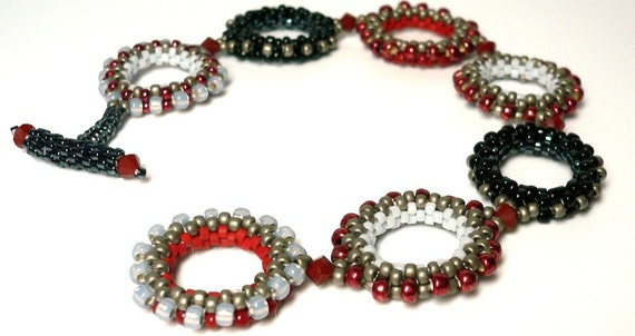 Circles on my mind Peyote beaded cuff bracelet: Instant Downloadable Pattern PDF File