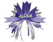 Daisy Hair Bow Clip Purple  White and Green
