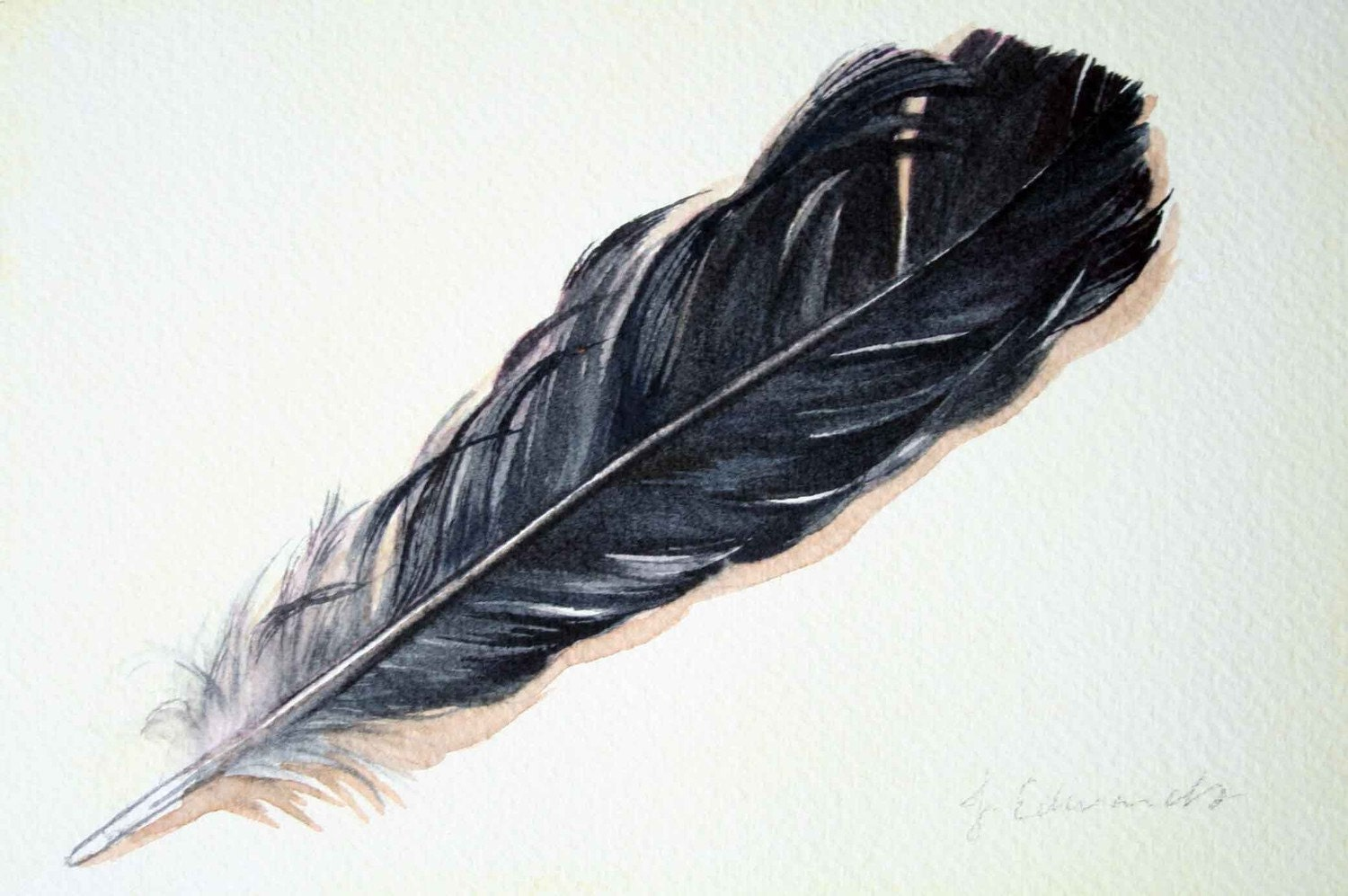 Feather 44 Autumn Crow Feather Original Watercolour Painting