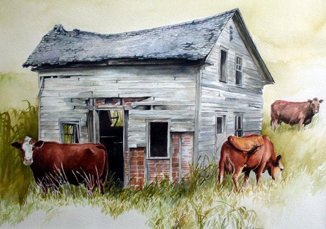 Cows watercolor old building barn brickhouse cows original for Watercolor barn paintings