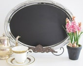 Chic Oval Magnetic Chalkboard Blackboard WITH EASEL  Featured in BRIDES Magazine  XLarge  Silver Tres Chic  Oval  Weddings Summer Wedding