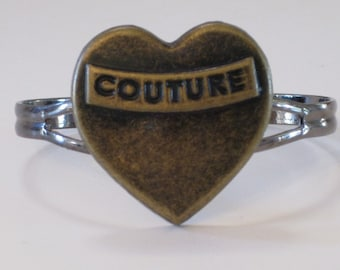 Couture Heart Bracelet Fashionista Fashion Designer Heart Shaped  Open Cuffed Bracelet Romantic Valentine's Day