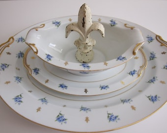 Noritake China Gravy Bowl and Platter Remembrance Pattern 5145 Japan 2 Piece  Serving Set  Wedding Gift Collectible