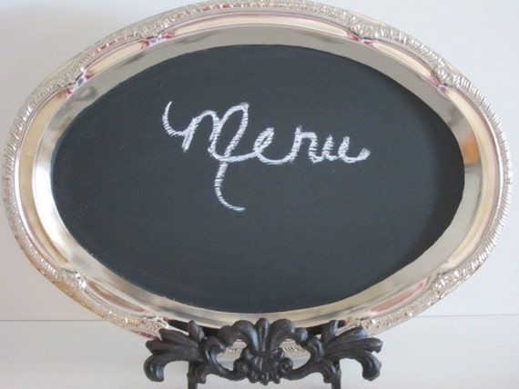 Chalkboard WITH Easel   Blackboard Hostess Gift Party  Oval Spring Wedding
