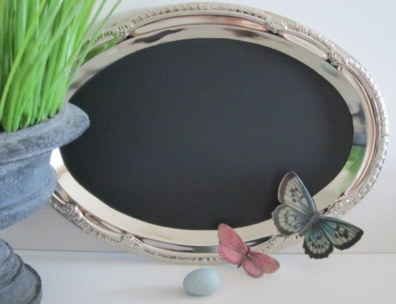 Seen in BRIDES  The ORIGINAL Tres Chic Oval Magnetic and Chalk Board Hostess Gift Blackboard Menu Board Message