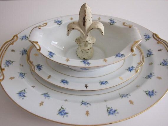 Noritake China Gravy Bowl and Platter Remembrance Pattern 5145 Japan 2 Piece  Serving Set  Wedding Gift Collectible