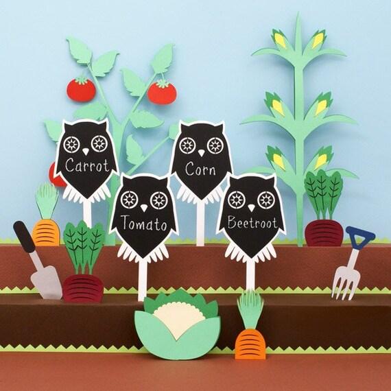 Chalkboard Garden Stakes - owls