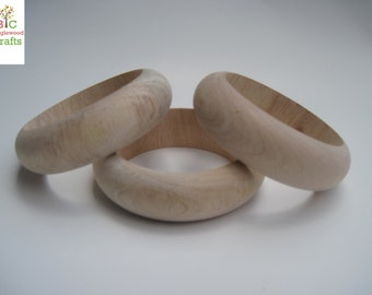 3 Extra Large Slender (1/2 inch in height) Unfinished Wood Bangles