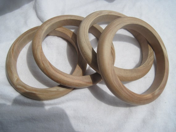 Four Medium Slender Unfinished Wood Bangles