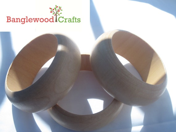 Three Unfinished Small Dome-Shaped Wood Bangles
