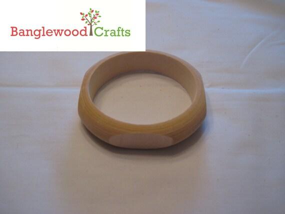 1 Medium Size Unfinished Wood Quadrilateral (4-sided) Bangle Bracelet