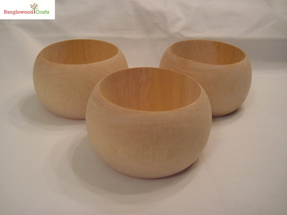3 Medium Unfinished Dome Wood Bangles