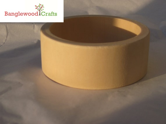 3 Small Unfinished Wood Flat Exterior Bangles