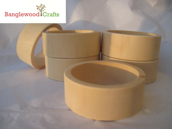 6 Small Unfinished Wood Flat Exterior Bangles