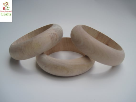 3 XLarge Slender Unfinished Wood Bangles