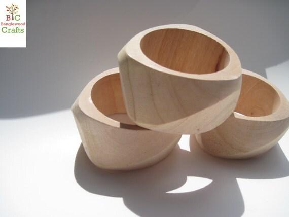 3 X-Large Unfinished Chunky Geometric Wood Bangles