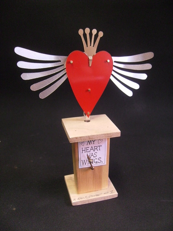 A hand made automata for Valentines day entitled 'My Heart Has Wings'