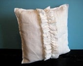 white linen ruffle throw  pillow / modern pillow /  shabby throw cushion