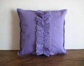 purple throw pillow linen ruffled toss cushion lavender