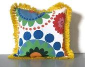 kids throw pillow, yellow pillow, scandinavian pillow, modern decorative pillow, blue pillow, pillow with trim