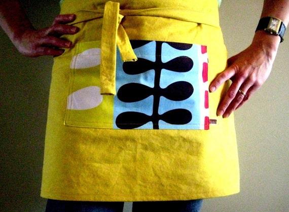 modern half apron yellow vendors apron chefs apron multi purpose handmade quality
