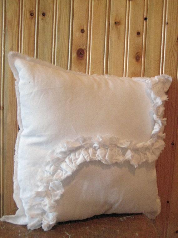 white linen pillow ruffled throw shabby modern