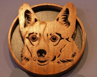 Handmade Fretwork Wood Dog Art Corgi Breed Portrait by dogWoodbyDave on Etsy