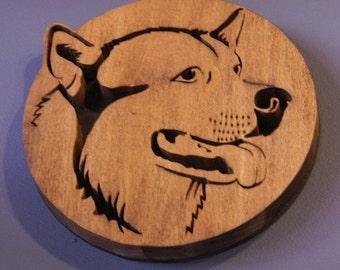 Husky Handmade Fretwork Wood Dog Art  Breed Portrait