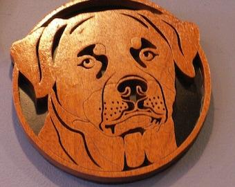 Rottweiler Handmade Fretwork Breed Portrait Wood Dog Art