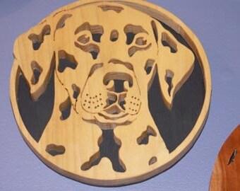 Dalmatian Handmade Fretwork Wood Art Portrait