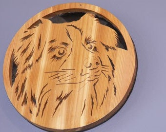 Border Collie Handmade Fretwork Wood Dog Portrait