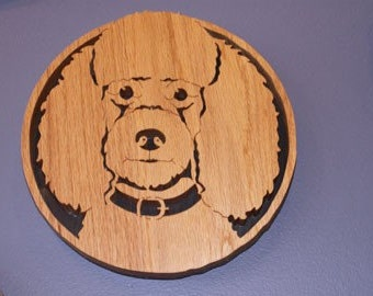 Poodle Handmade Fretwork Wood Dog Portrait Art by dogWoodbyDave on Etsy